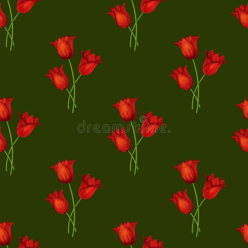 Obrazkowy bezszwowy zielony tło z bukietami czerwony tulipan ilustracji