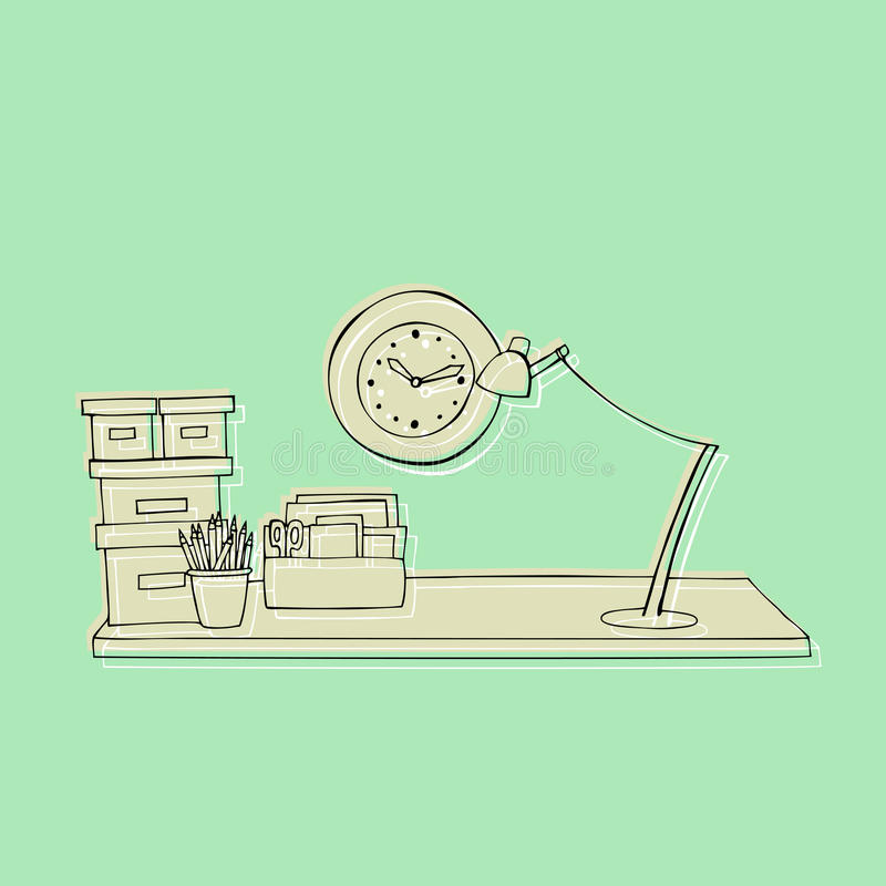 Obrazkowy biurowy biurko ilustracja wektor