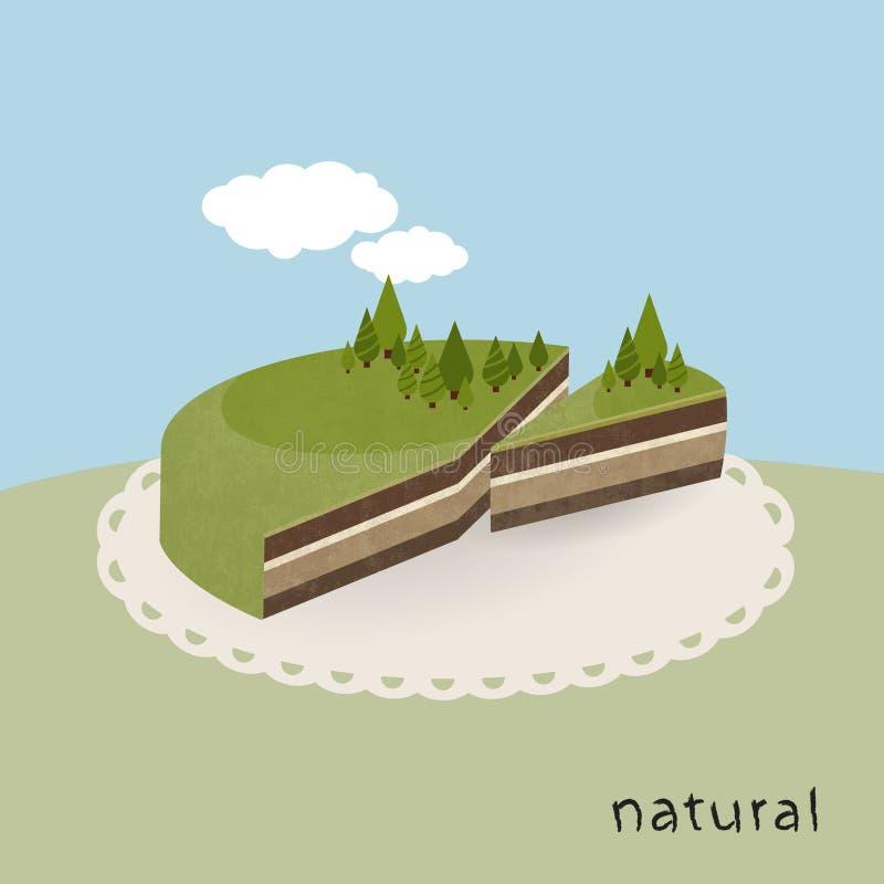 Obrazkowy ziemia tort - naturalny kulebiak. royalty ilustracja
