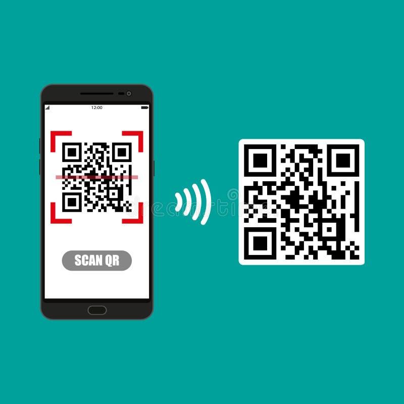 Obrazu cyfrowego QR kod telefon komórkowy ilustracja wektor