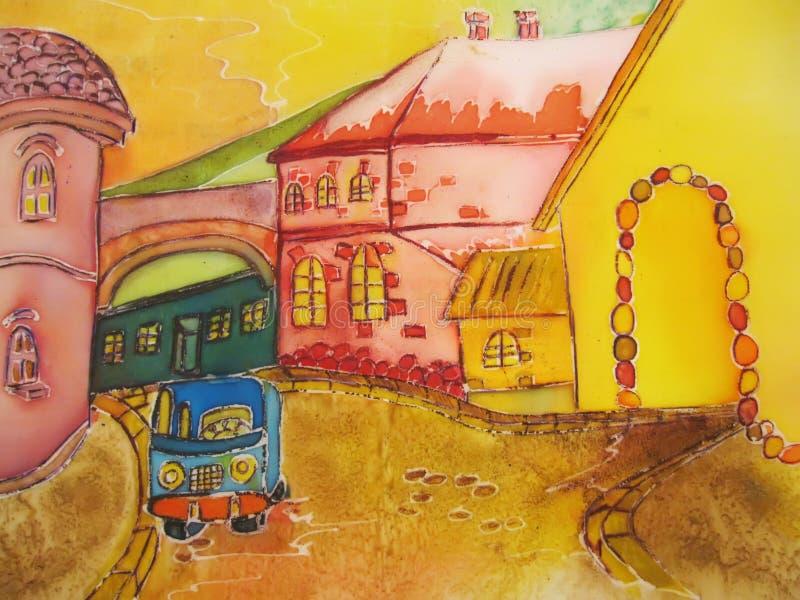 Obrazu miasta Rin uliczna pomarańcze z błękitnym samochodem. royalty ilustracja