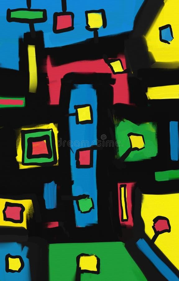 Obrazu olejnego abstrakta stylu grafika na kanwie obraz stock