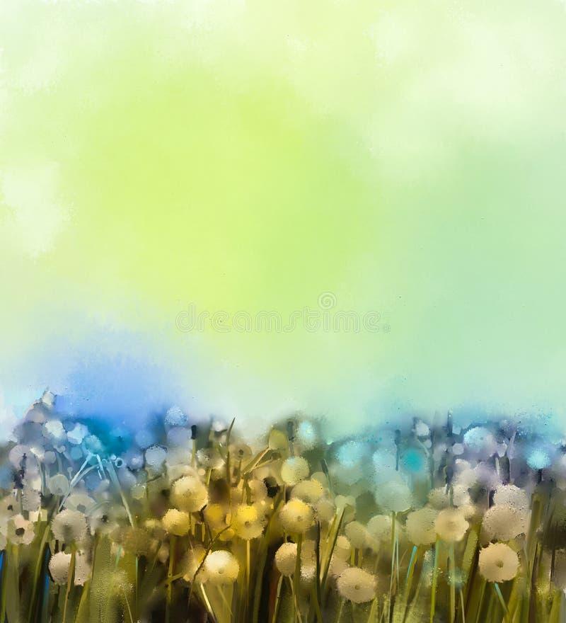 Obrazu olejnego dandelion biały kwiat w łąkach royalty ilustracja