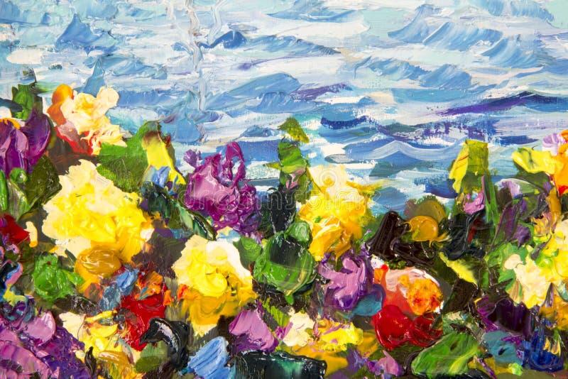Obrazu olejnego i palety noża zakończenie Żółci czerwoni fiołków kwiaty w zielonej trawie przeciw tłu błękitne denne fala Fragme obrazy royalty free