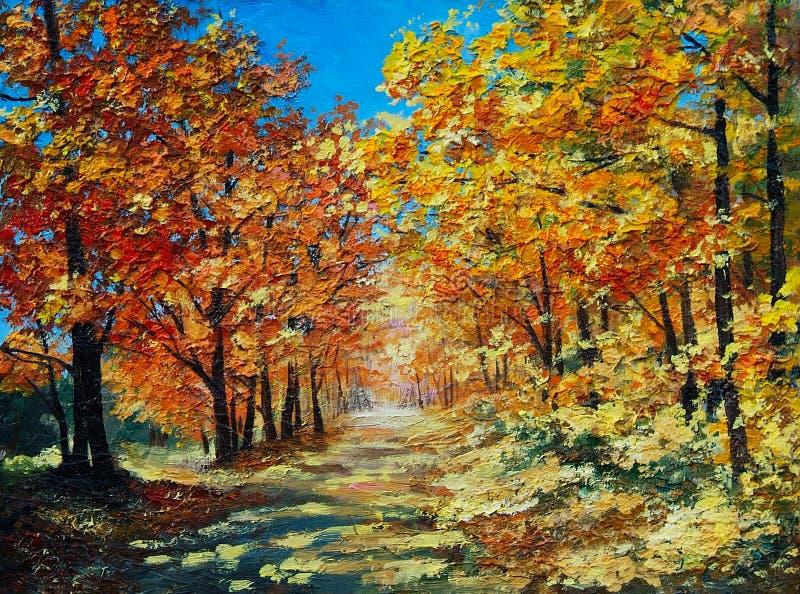 Obrazu Olejnego krajobraz - jesień las, jaskrawa czerwień opuszcza royalty ilustracja
