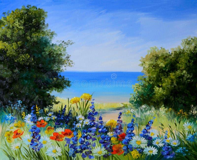 Obrazu olejnego krajobraz - pole blisko morza, dzicy kwiaty fotografia royalty free