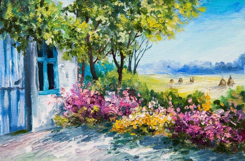 Obrazu olejnego krajobraz - uprawia ogródek blisko domu, kolorowi kwiaty royalty ilustracja