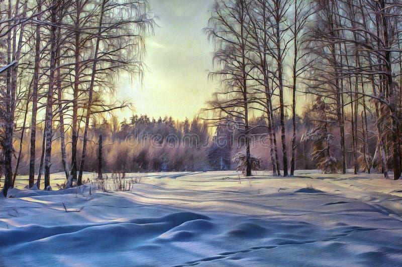 Obrazu olejnego lasu krajobraz z zimą zdjęcia royalty free
