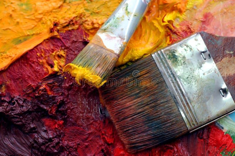obrazu olejnego paleta artysty zdjęcie stock