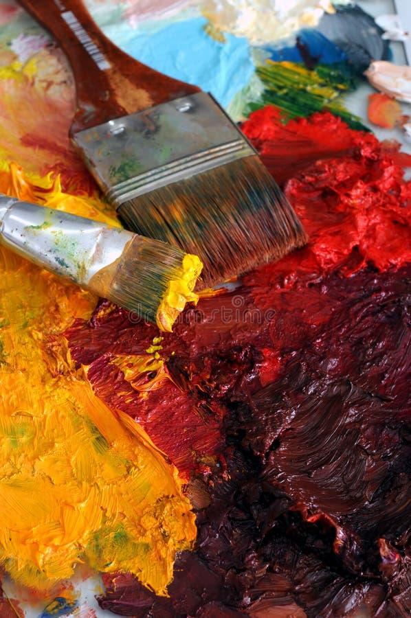 obrazu olejnego paleta artysty zdjęcia stock