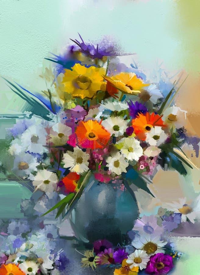 Obrazu olejnego wciąż życia bukiet Biały, Żółty i Pomarańczowy słonecznik, Gerbera, stokrotka kwitnie ilustracja wektor