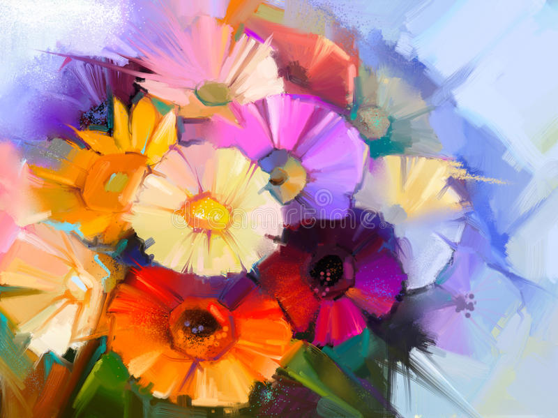 Obrazu olejnego wciąż życia stokrotki gerbera kwiaty ilustracja wektor