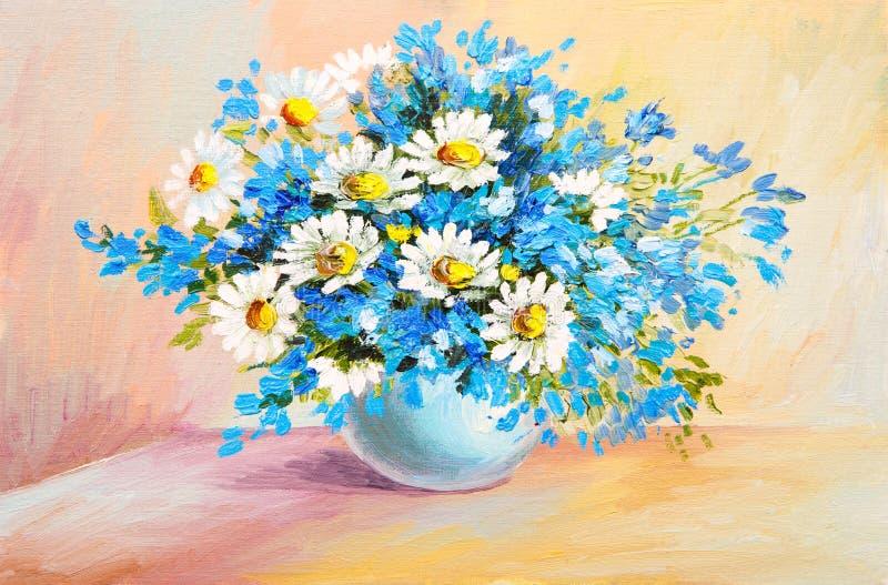 Obrazu olejnego wciąż życie - bukiet kwiaty na stole royalty ilustracja