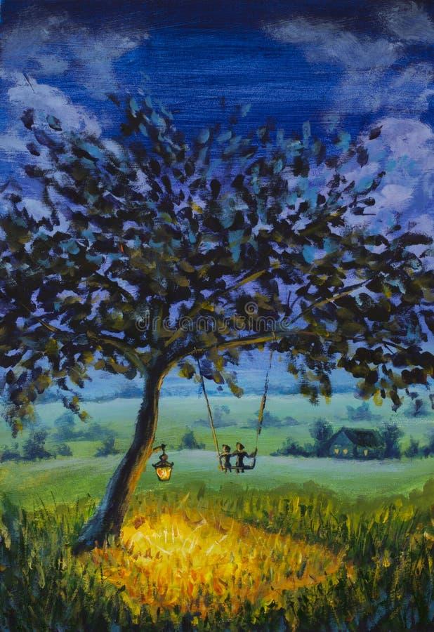 Obrazu olejnego wieczór wieśniaka krajobraz, latarniowy obwieszenie na drzewie, facet z dziewczyną w miłości przejażdżce na huśta fotografia stock