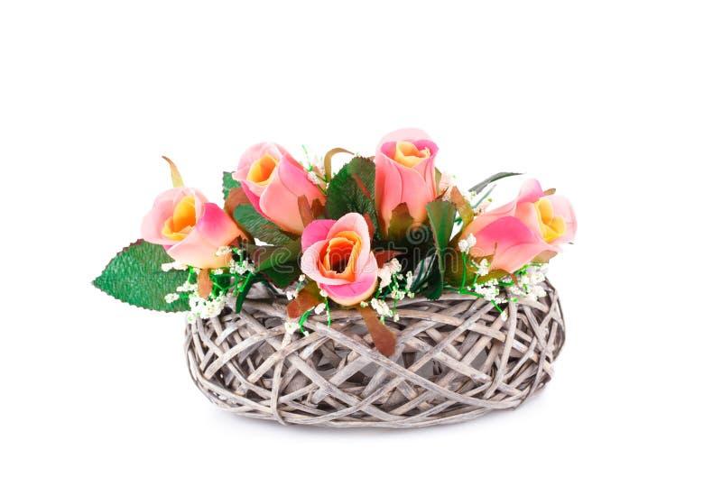 obrazu róż wazy akwarele fotografia stock