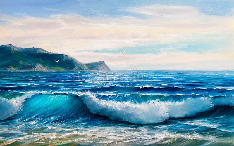 Obrazu seascape trzasków ciężkiego morza fala fotografia stock