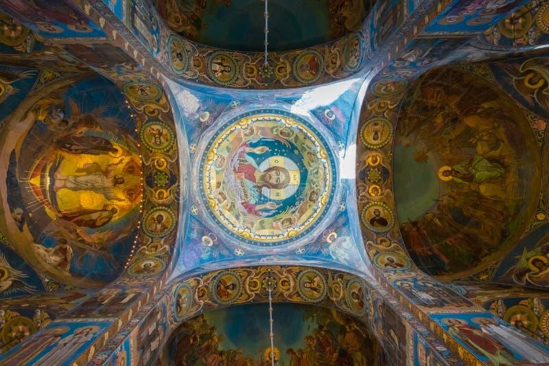 Obrazu sufit kościół wybawiciel na Rozlewałam krwi w Świątobliwym Petersburg, Rosja obraz stock