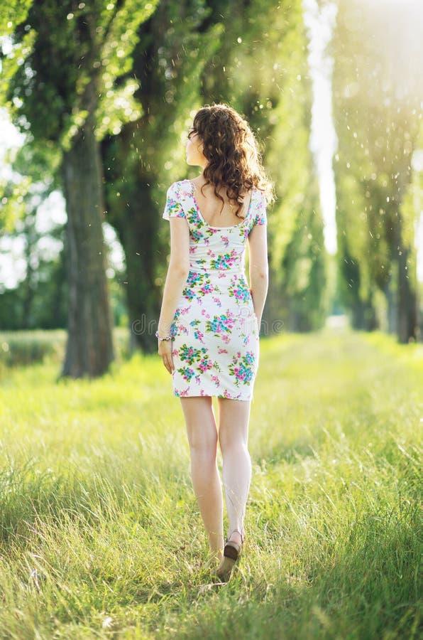 Obrazuje przedstawiać kobiety odprowadzenie wśród drzew fotografia royalty free