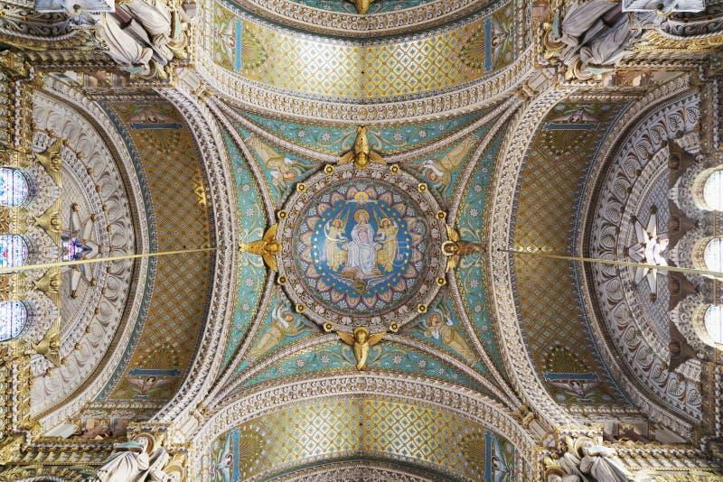 Obrazy i szczegóły Notre Damae De Fourviere bazylika, Lion fotografia stock