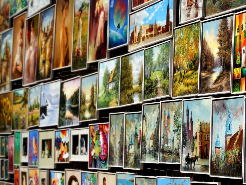 Obrazy w Krakow zdjęcie stock
