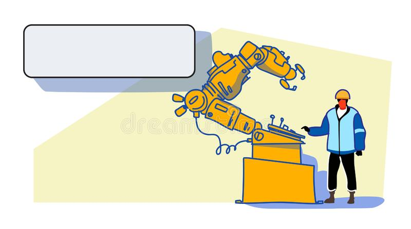 Obrero en el ingeniero uniforme de la industria fabril de trabajo del proceso de la mano del robot del transportador que controla ilustración del vector