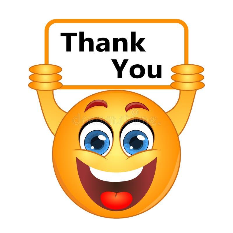 Obrigado agradece a expressar a nota da gratitude em um sinal ilustração do vetor