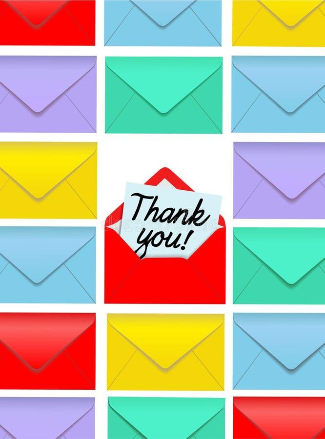Obrigado anotar envelopes coloridos abertos ilustração do vetor