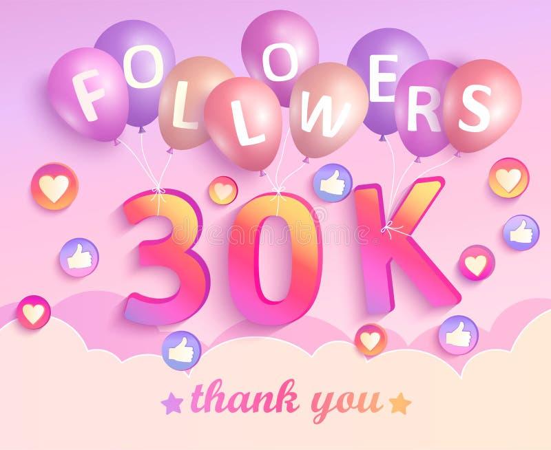 Obrigado bandeira dos seguidores 30K ilustração royalty free