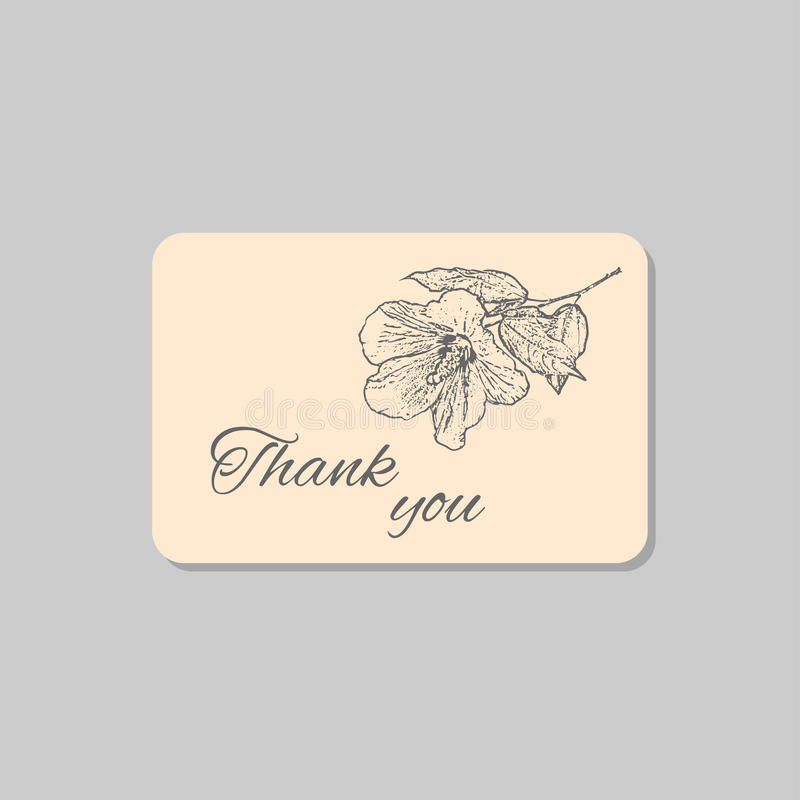 Obrigado cardar com a flor do hibiscus de Havaí Molde do projeto da união do grunge do vintage, arte finala floral Ilustração do  ilustração stock
