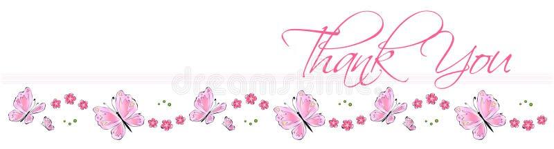 Obrigado cartão da borboleta ilustração stock