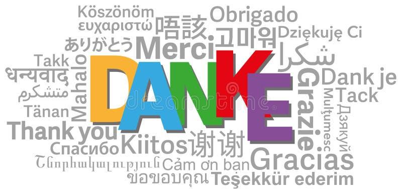 Obrigado exprimir a nuvem em línguas diferentes ilustração do vetor