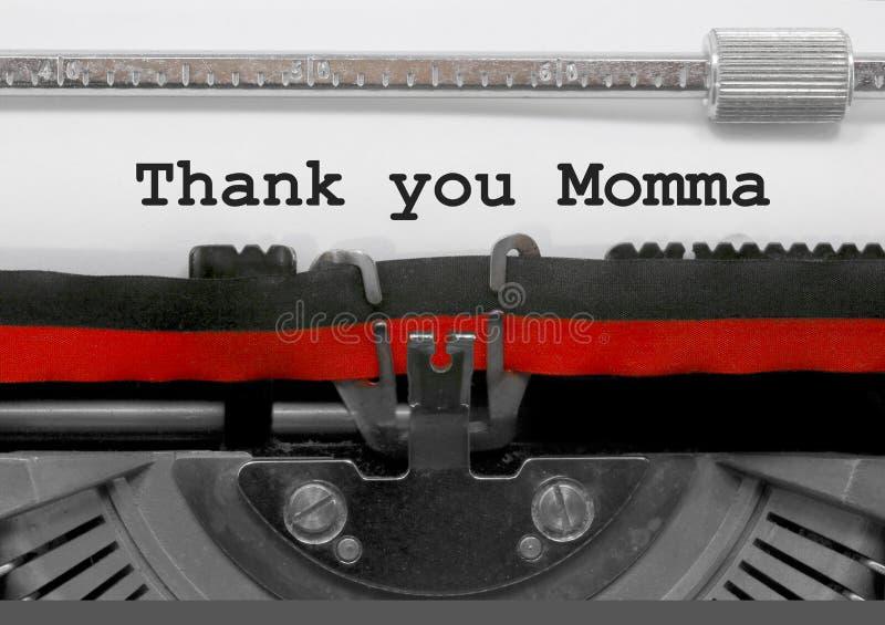 Obrigado frase da mamãe pela máquina de escrever velha no Livro Branco fotos de stock royalty free