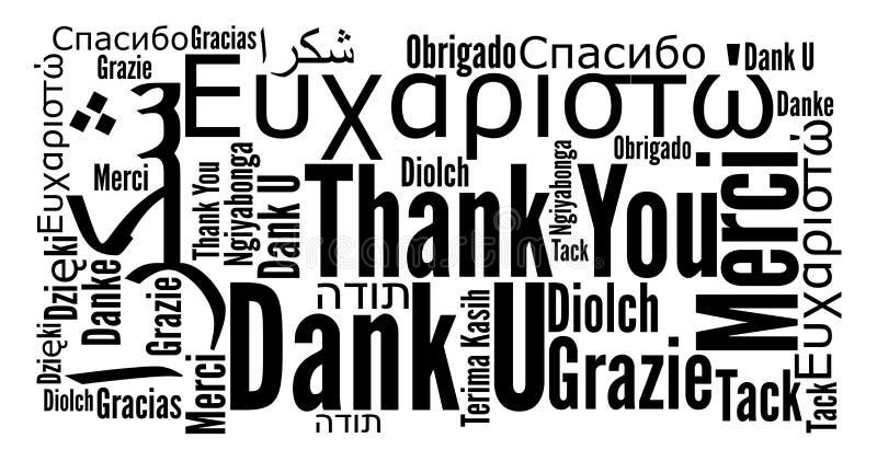 Obrigado frasear em línguas diferentes ilustração do vetor