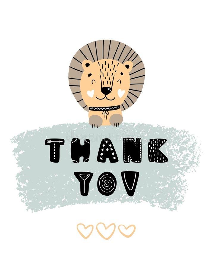 Obrigado - mão bonito cartaz tirado do berçário com o leão e rotulação animais do personagem de banda desenhada no estilo escandi imagens de stock royalty free