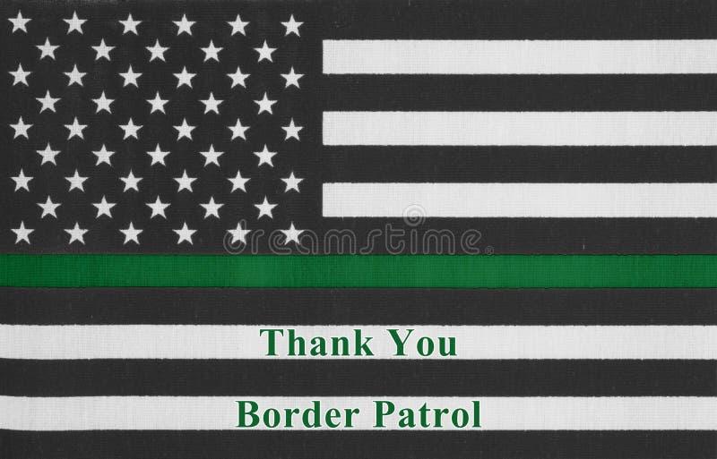 Obrigado mensagem em uma bandeira fina americana da linha verde imagens de stock royalty free