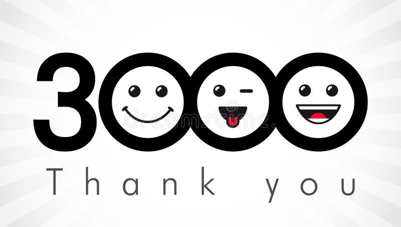 Obrigado 3000 números dos seguidores ilustração do vetor
