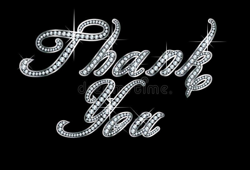 Obrigado no roteiro Diamond Bling Letters ilustração stock