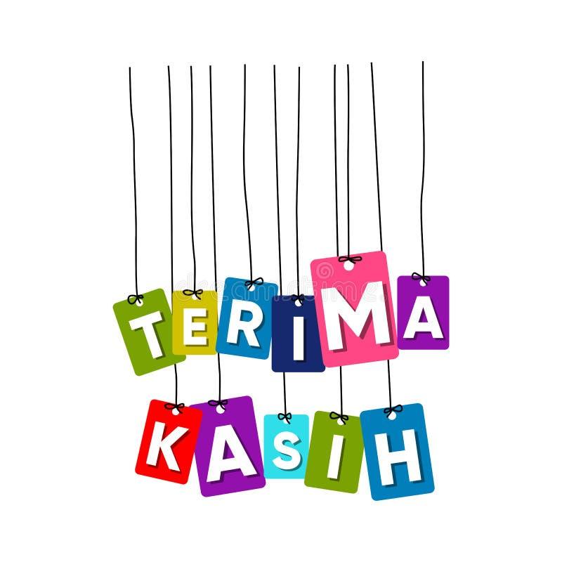 Obrigado no vetor de suspensão das palavras da língua indonésia, vetor colorido das palavras, vetor do kasih do terima ilustração do vetor
