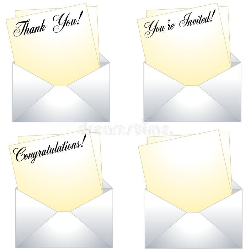 Obrigado notas com envelopes ilustração stock