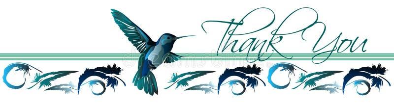 Obrigado o cartão 3 do colibri ilustração royalty free