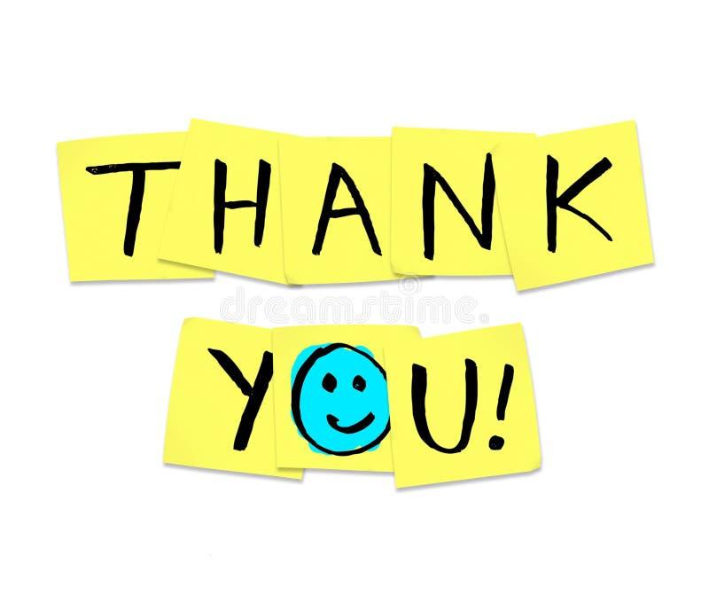 Obrigado - palavras em notas pegajosas amarelas ilustração royalty free