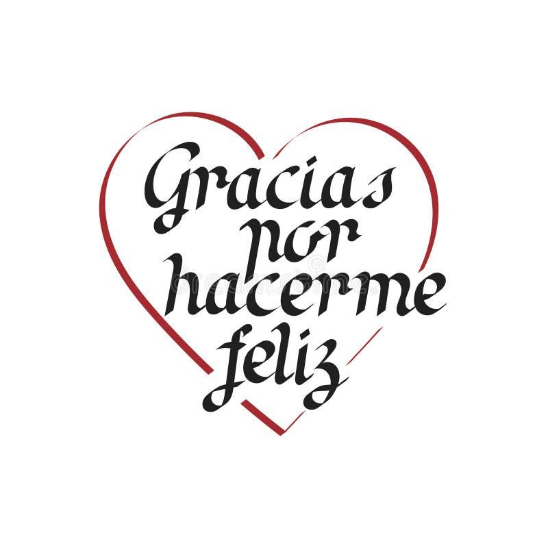Obrigado para a felicidade, rotulação da mão em espanhol ilustração stock