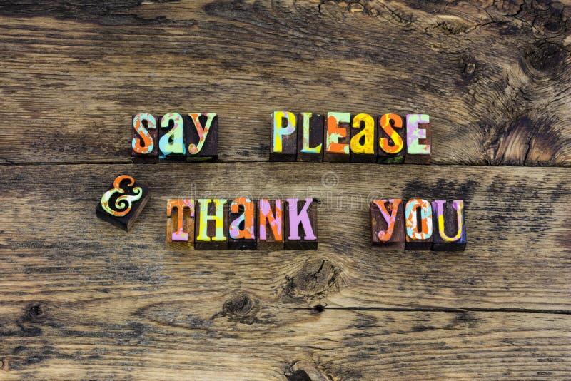 Obrigado por favor tipografia da gratitude das maneiras imagens de stock royalty free