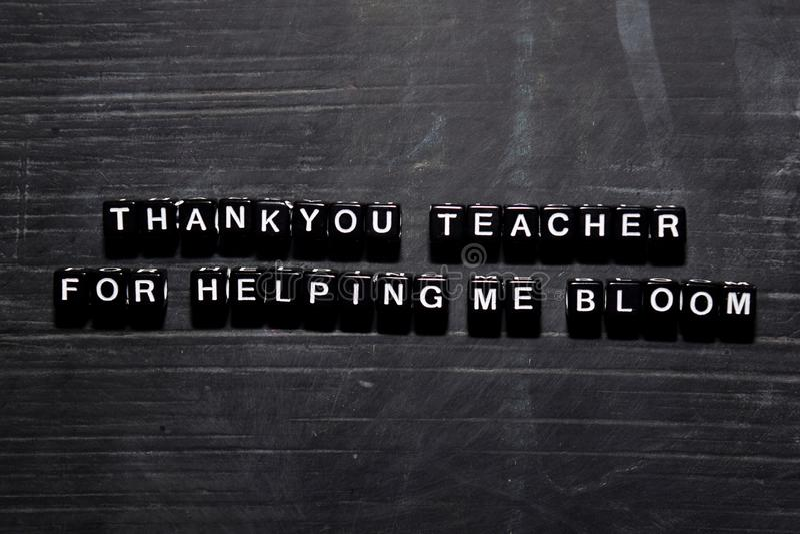 Obrigado professor ajudando me florescer em blocos de madeira Conceito da educa??o, da motiva??o e da inspira??o imagens de stock royalty free
