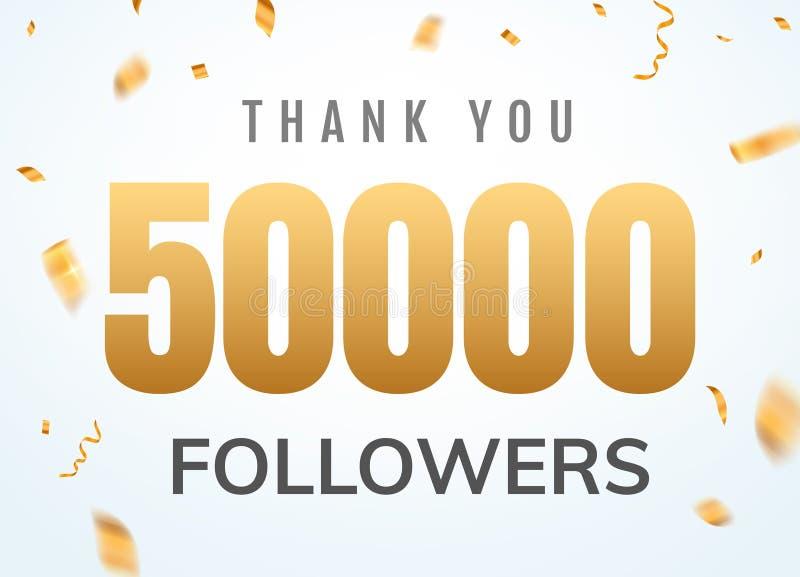 Obrigado que 50000 seguidores projetam o aniversário social do network number do molde Amigos dourados mil do número dos usuários ilustração stock