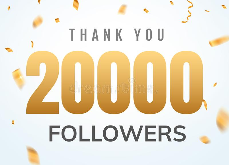 Obrigado que 20000 seguidores projetam o aniversário social do network number do molde Amigos dourados mil do n?mero dos usu?rios ilustração stock