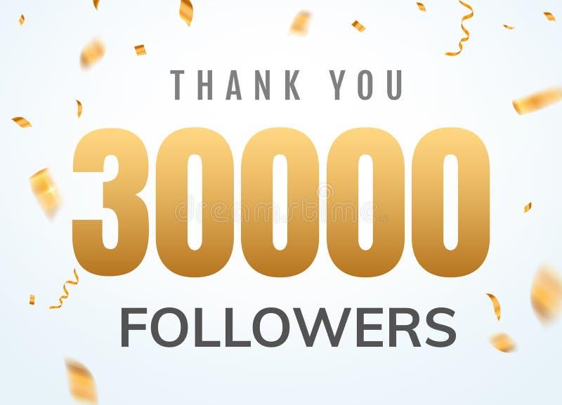 Obrigado que 30000 seguidores projetam o aniversário social do network number do molde Amigos dourados mil do n?mero dos usu?rios ilustração stock