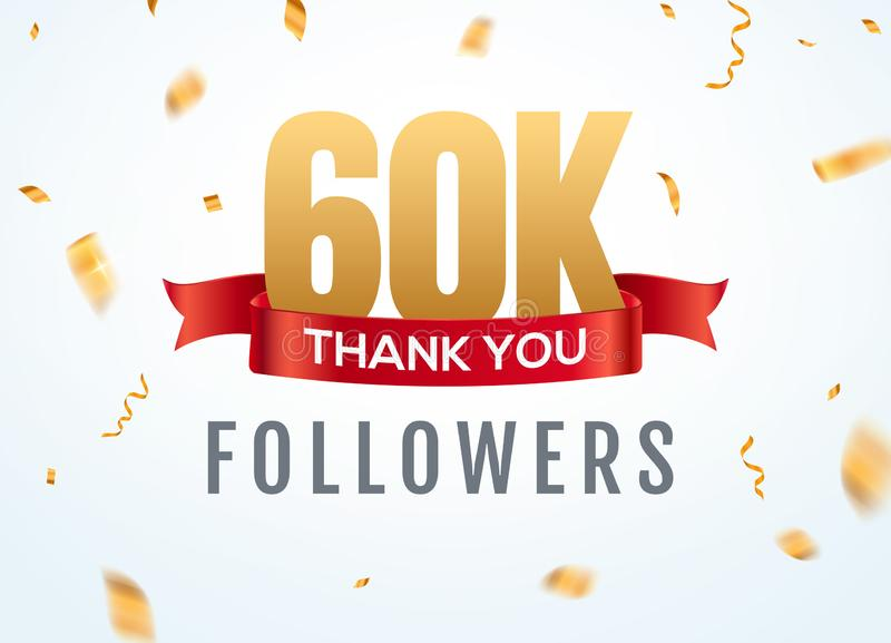 Obrigado que 60000 seguidores projetam o aniversário social do network number do molde Amigos dourados do número dos usuários 60k ilustração stock