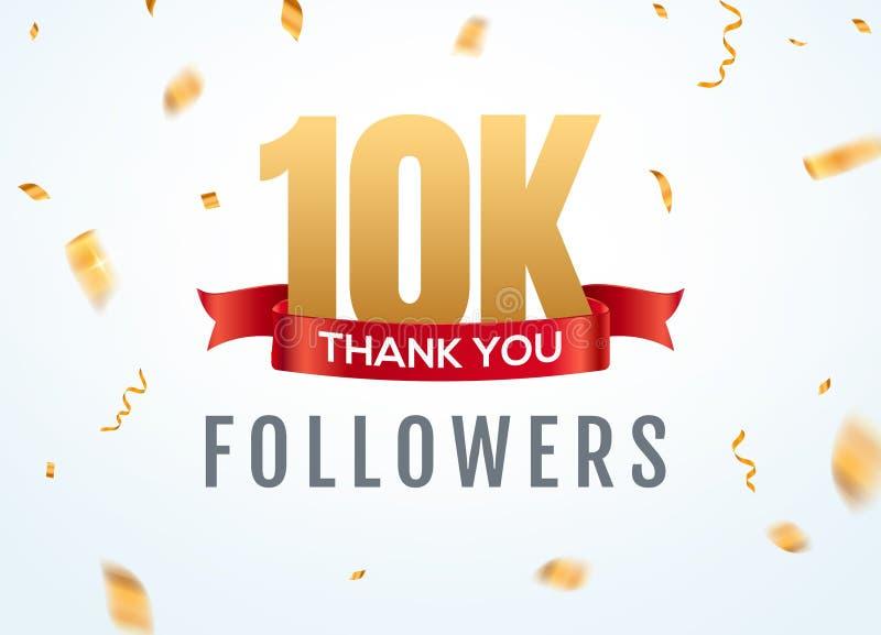 Obrigado que 10000 seguidores projetam o aniversário social do network number do molde Número dourado dos usuários 2k sociais ilustração stock
