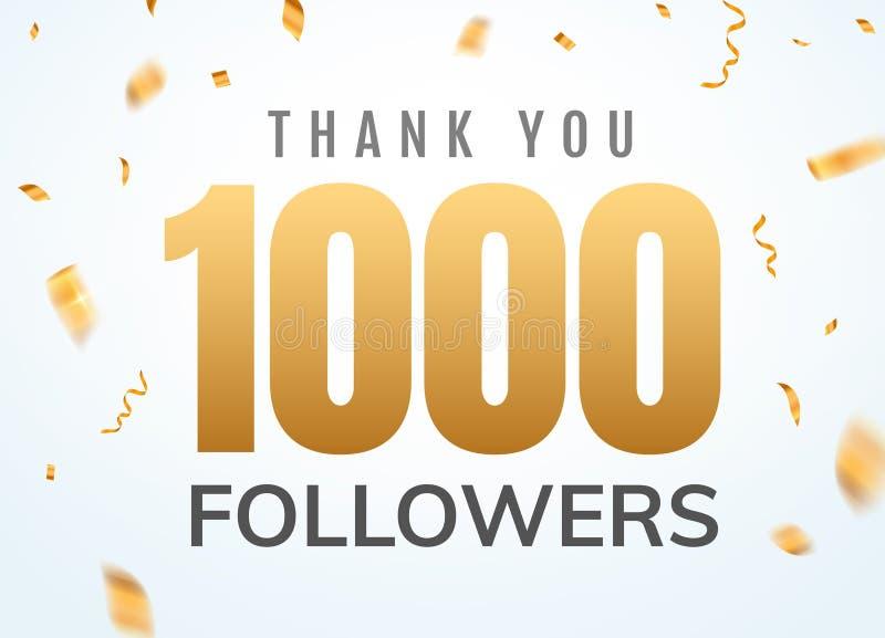 Obrigado que 1000 seguidores projetam o aniversário social do network number do molde Número dourado dos usuários sociais ilustração stock